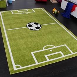 Paco Home Teppich Kinderzimmer Fußball Spielteppich Kinderteppich Fußballplatz Grün, Grösse:160x220 cm - 1