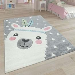 Paco Home Teppich Kinderzimmer Grau 3-D Motiv Alpaka Design Pastellfarben Weich Robust, Grösse:80x150 cm - 1