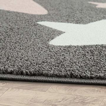 Paco Home Teppich Kinderzimmer Kinderteppich Große Und Kleine Sterne In Grau Rosa, Grösse:120x170 cm - 2