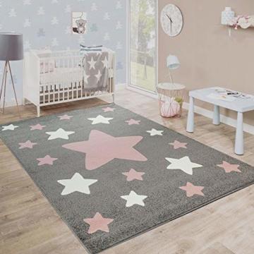 Paco Home Teppich Kinderzimmer Kinderteppich Große Und Kleine Sterne In Grau Rosa, Grösse:120x170 cm - 1