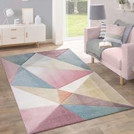Paco Home Teppich Kurzflor Modern Trendig Pastell Geometrisches Design Inspiration Multi, Grösse:120x170 cm - 1