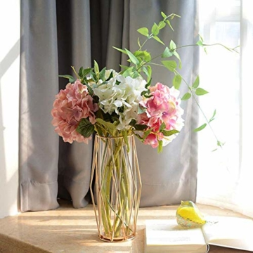 Perfuw Vase Glas Blumenvase Mit Geometrischem Metallständer, Kristallklare Terrarien Pflanzgefäß Knospen-glasvasen Für Blumen Hydroponikpflanze, Herzstück Für Zuhause/Büro/Hochzeit - Champagner Gold - 3