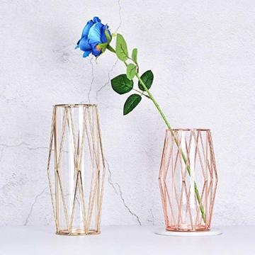Perfuw Vase Glas Blumenvase Mit Geometrischem Metallständer, Kristallklare Terrarien Pflanzgefäß Knospen-glasvasen Für Blumen Hydroponikpflanze, Herzstück Für Zuhause/Büro/Hochzeit - Champagner Gold - 6