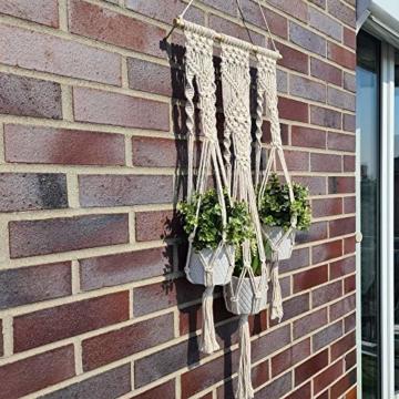 QueHouse Makramee Garn Blumenampel Blumentopf Deko - Wand Deko Boho Blumenhänger Home Baumwollseil Pflanzen Halter Wanddekoration Hängeampel Aufhänger für Innen Außen - 3