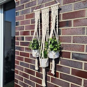 QueHouse Makramee Garn Blumenampel Blumentopf Deko - Wand Deko Boho Blumenhänger Home Baumwollseil Pflanzen Halter Wanddekoration Hängeampel Aufhänger für Innen Außen - 4