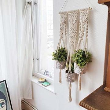QueHouse Makramee Garn Blumenampel Blumentopf Deko - Wand Deko Boho Blumenhänger Home Baumwollseil Pflanzen Halter Wanddekoration Hängeampel Aufhänger für Innen Außen - 7