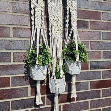 QueHouse Makramee Garn Blumenampel Blumentopf Deko - Wand Deko Boho Blumenhänger Home Baumwollseil Pflanzen Halter Wanddekoration Hängeampel Aufhänger für Innen Außen - 8