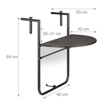 Relaxdays Balkonhängetisch BASTIAN klappbar, 3-fach höhenverstellbarer Klapptisch, Tischplatte B x T: 60 x 40 cm, braun - 2