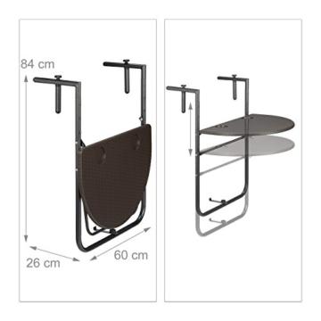 Relaxdays Balkonhängetisch BASTIAN klappbar, 3-fach höhenverstellbarer Klapptisch, Tischplatte B x T: 60 x 40 cm, braun - 3
