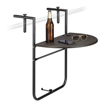 Relaxdays Balkonhängetisch BASTIAN klappbar, 3-fach höhenverstellbarer Klapptisch, Tischplatte B x T: 60 x 40 cm, braun - 1