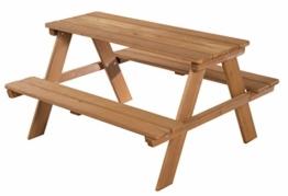 roba Kinder Outdoor + Sitzgruppe 'Picknick for 4', wetterfeste Sitzgarnitur für drinnen und draußen aus Massivholz in Teakholz-Optik, besonders stabil und langlebig - 1