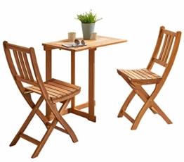 SAM 3-TLG. Balkongruppe Alessio, 1x Tisch 70x45 cm + 2X Klappstuhl, Balkon-Set aus Akazien-Holz, FSC® 100% Zertifiziert - 1