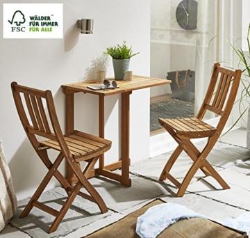 SAM 3-TLG. Balkongruppe Alessio, 1x Tisch 70x45 cm + 2X Klappstuhl, Balkon-Set aus Akazien-Holz, FSC® 100% Zertifiziert - 5