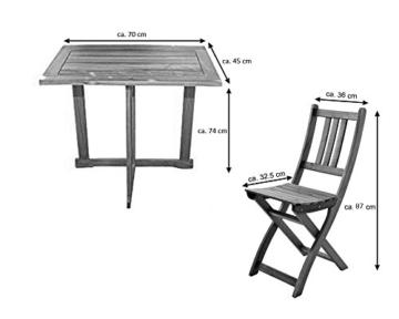 SAM 3-TLG. Balkongruppe Alessio, 1x Tisch 70x45 cm + 2X Klappstuhl, Balkon-Set aus Akazien-Holz, FSC® 100% Zertifiziert - 8