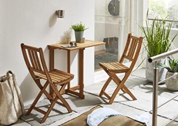 SAM 3-TLG. Balkongruppe Alessio, 1x Tisch 70x45 cm + 2X Klappstuhl, Balkon-Set aus Akazien-Holz, FSC® 100% Zertifiziert - 9
