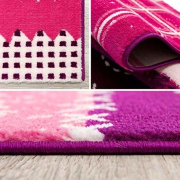 SANAT Teppich Kinderzimmer - Lila/Rosa Kinderteppich für Mädchen und Jungen Öko-Tex 100 Zertifiziert, Größe: 80x150cm - 2
