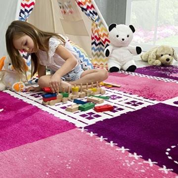 SANAT Teppich Kinderzimmer - Lila/Rosa Kinderteppich für Mädchen und Jungen Öko-Tex 100 Zertifiziert, Größe: 80x150cm - 3