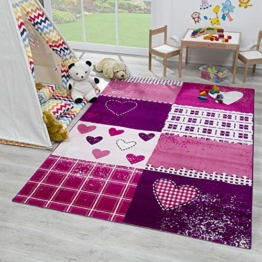 SANAT Teppich Kinderzimmer - Lila/Rosa Kinderteppich für Mädchen und Jungen Öko-Tex 100 Zertifiziert, Größe: 80x150cm - 1