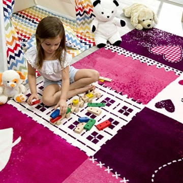 SANAT Teppich Kinderzimmer - Lila/Rosa Kinderteppich für Mädchen und Jungen Öko-Tex 100 Zertifiziert, Größe: 80x150cm - 4