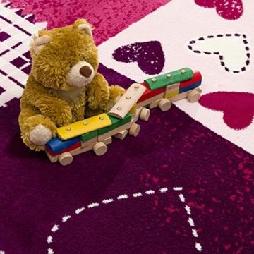 SANAT Teppich Kinderzimmer - Lila/Rosa Kinderteppich für Mädchen und Jungen Öko-Tex 100 Zertifiziert, Größe: 80x150cm - 7