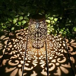 Solar Laterne Lichter für hängende Outdoor-Ornamente Geschenk Outdoor-Dekoration Tischlaterne Solar Silber Licht Wasserdichte Solar Lampe Dekorative Solarbetriebene Laternen für Garten,Terrasse,Hof - 1