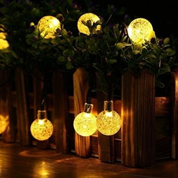 Solar Lichterkette Aussen, Tomshine 50er Solar Lichterkette Außen mit LED Kugel, Wasserdicht Warmweiß 5.6 Meter, Solarbetriebene Lichterkette für Garten Party Weihnachten - 2