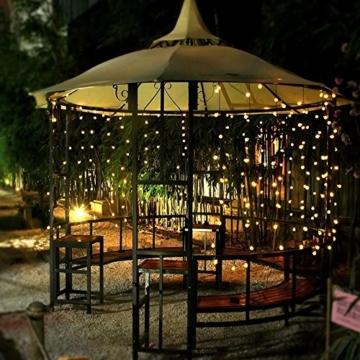 Solar Lichterkette Aussen, Tomshine 50er Solar Lichterkette Außen mit LED Kugel, Wasserdicht Warmweiß 5.6 Meter, Solarbetriebene Lichterkette für Garten Party Weihnachten - 3