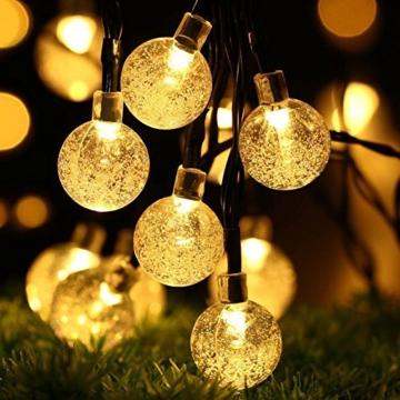 Solar Lichterkette Aussen, Tomshine 50er Solar Lichterkette Außen mit LED Kugel, Wasserdicht Warmweiß 5.6 Meter, Solarbetriebene Lichterkette für Garten Party Weihnachten - 1