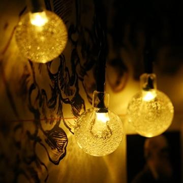 Solar Lichterkette Aussen, Tomshine 50er Solar Lichterkette Außen mit LED Kugel, Wasserdicht Warmweiß 5.6 Meter, Solarbetriebene Lichterkette für Garten Party Weihnachten - 5