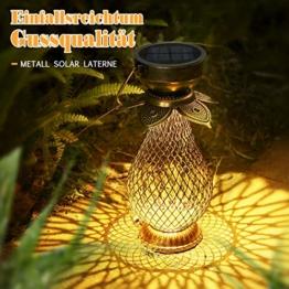 Solarlaterne für Außen, Görvitor LED Retro Dekorative Solarlampe Garten Laterne, Solarlaterne Hängende IP44 Wasserdicht, LED Solar Laterne Dekolampe für Draussen (Metall) - 1
