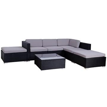 SVITA Lugano Poly Rattan Lounge Garten-Set XXL Sofa-Set Garnitur Gartenmöbel Couch-Set (XXL, Schwarz) - 3