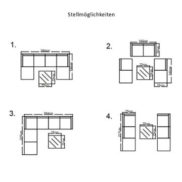SVITA Lugano Poly Rattan Lounge Garten-Set XXL Sofa-Set Garnitur Gartenmöbel Couch-Set (XXL, Schwarz) - 4