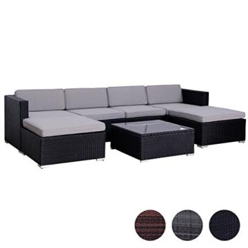 SVITA Lugano Poly Rattan Lounge Garten-Set XXL Sofa-Set Garnitur Gartenmöbel Couch-Set (XXL, Schwarz) - 1