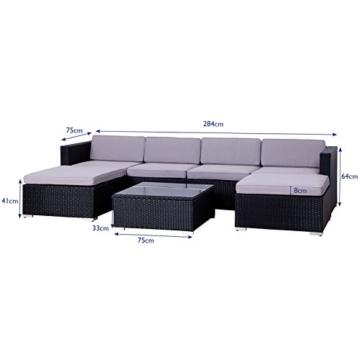 SVITA Lugano Poly Rattan Lounge Garten-Set XXL Sofa-Set Garnitur Gartenmöbel Couch-Set (XXL, Schwarz) - 5