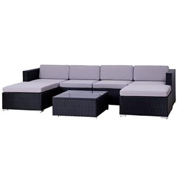 SVITA Lugano Poly Rattan Lounge Garten-Set XXL Sofa-Set Garnitur Gartenmöbel Couch-Set (XXL, Schwarz) - 6