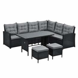 SVITA Monroe Polyrattan Ecksofa Rattan-Lounge Esstisch Gartenmöbel-Set Sofa Garnitur Couch-Eck (Lounge Set, Schwarz) - 1