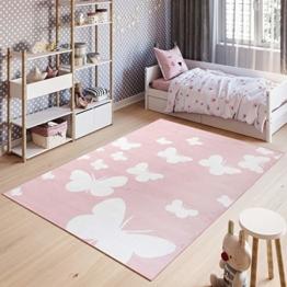 Tapiso Pinky Teppich Kurzflor Kinderteppich Kinderzimmer Pink Rosa Weiß Pastellfarben Modern Schmetterling Spielteppich ÖKOTEX 140 x 200 cm - 1
