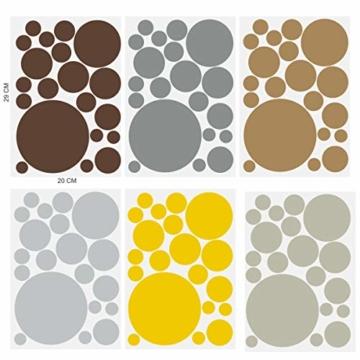timalo® 120 Stück Wandtattoo Kinderzimmer Kreise Pastell Wandsticker – Aufkleber Punkte | 73078-SET10-120 - 4