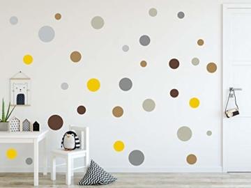 timalo® 120 Stück Wandtattoo Kinderzimmer Kreise Pastell Wandsticker – Aufkleber Punkte | 73078-SET10-120 - 1