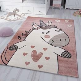 VIMODA kinderzimmer kinderteppich Pony Einhorn Teppich Flauschig für Kinderzimmer Spielzimmer, Maße:120x170 cm - 1