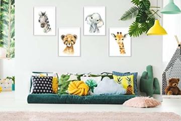 artpin® 4er Set Bilder Kinderzimmer Deko Junge Mädchen - DIN A4 Poster Tiere - Safari Afrika Wandbilder - Porträt Elefant Tiger Giraffe Zebra (P35) - 2