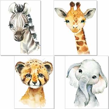 artpin® 4er Set Bilder Kinderzimmer Deko Junge Mädchen - DIN A4 Poster Tiere - Safari Afrika Wandbilder - Porträt Elefant Tiger Giraffe Zebra (P35) - 1