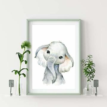 artpin® 4er Set Bilder Kinderzimmer Deko Junge Mädchen - DIN A4 Poster Tiere - Safari Afrika Wandbilder - Porträt Elefant Tiger Giraffe Zebra (P35) - 5