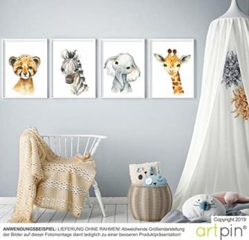 artpin® 4er Set Bilder Kinderzimmer Deko Junge Mädchen - DIN A4 Poster Tiere - Safari Afrika Wandbilder - Porträt Elefant Tiger Giraffe Zebra (P35) - 6