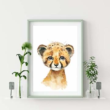 artpin® 4er Set Bilder Kinderzimmer Deko Junge Mädchen - DIN A4 Poster Tiere - Safari Afrika Wandbilder - Porträt Elefant Tiger Giraffe Zebra (P35) - 7
