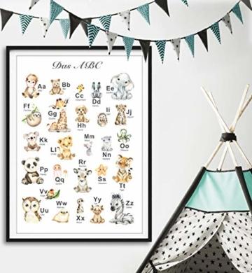 artpin® ABC Poster Kinderzimmer Alphabet Tierposter - Lernposter Schulanfang 1.Klasse DIN A3 Weihnachtsdeko - Bilder Safari Mädchen Junge Baby Tiere - Wald Dschungel P69 - 2