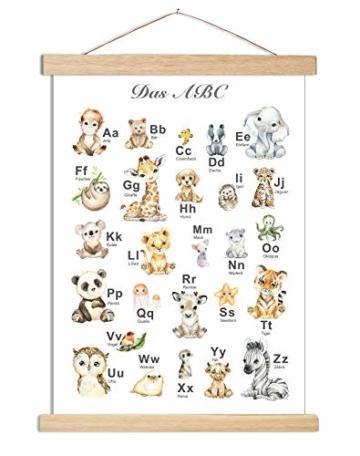 artpin® ABC Poster Kinderzimmer Alphabet Tierposter - Lernposter Schulanfang 1.Klasse DIN A3 Weihnachtsdeko - Bilder Safari Mädchen Junge Baby Tiere - Wald Dschungel P69 - 3