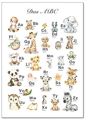 artpin® ABC Poster Kinderzimmer Alphabet Tierposter - Lernposter Schulanfang 1.Klasse DIN A3 Weihnachtsdeko - Bilder Safari Mädchen Junge Baby Tiere - Wald Dschungel P69 - 1