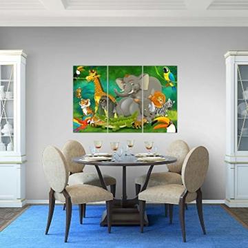 Bilder Kinderzimmer Tiere Wandbild 120 x 80 cm Vlies - Leinwand Bild XXL Format Wandbilder Wohnung Deko Kunstdrucke - MADE IN GERMANY - Fertig zum Aufhängen 001831a - 2