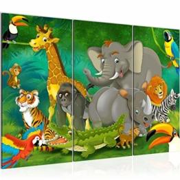 Bilder Kinderzimmer Tiere Wandbild 120 x 80 cm Vlies - Leinwand Bild XXL Format Wandbilder Wohnung Deko Kunstdrucke - MADE IN GERMANY - Fertig zum Aufhängen 001831a - 1